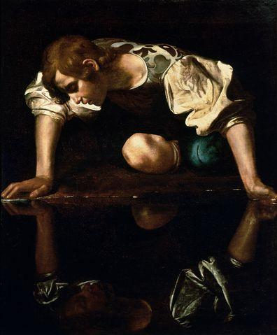 Narcissus, Caravaggio, painting