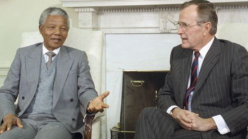 African National Congress President Nelson Mandela in 1991 meeting with President George Bush, who has died aged 94.