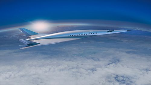 Boeing has released plans for a 'hypersonic plane' capable of travelling up to 6500km/h - or between Australia and Europe in under five hours. Picture: Supplied.