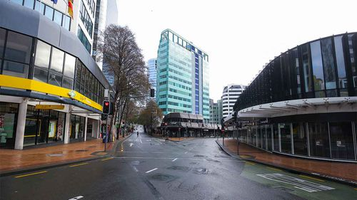 The streets of Wellington lie empty on the first day of lockdown in New Zealand.