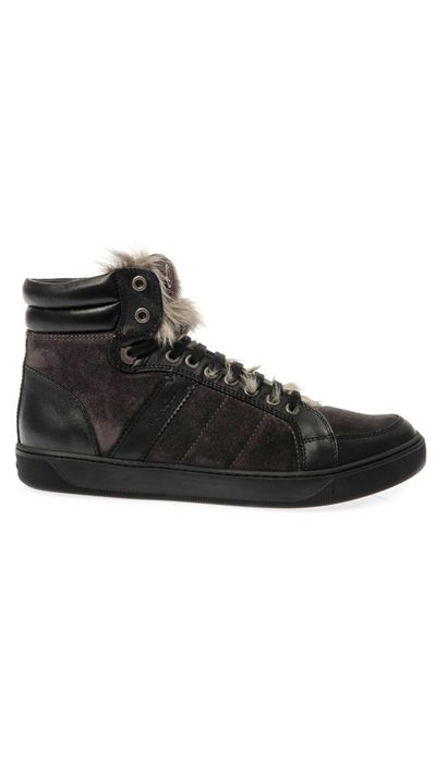 """<p><a href=""""http://www.matchesfashion.com/au/products/Moncler-New-Bordeaux-suede-and-fur-trainers-204091#"""" target=""""_blank"""">Trainers, $633, Moncler at matchesfashion.com</a></p>"""
