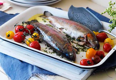 Roast trout with sage butter & roasted cherry tomatoes