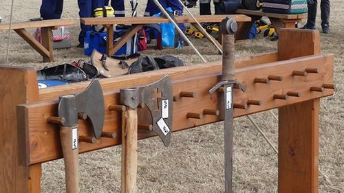 A line of weapons used at the medieval festival.