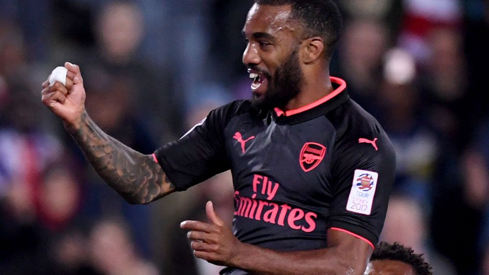 Alexandre Lacazette scored on his Arsenal debut against Sydney FC. (AAP)