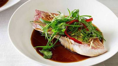 """Recipe:<a href=""""http://kitchen.nine.com.au/2016/05/16/18/22/steamed-snapper-with-ginger-soy-and-sesame"""" target=""""_top"""">Steamed snapper with ginger, soy and sesame</a>"""