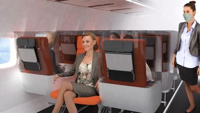 Aviointeriors social distancing cabin design