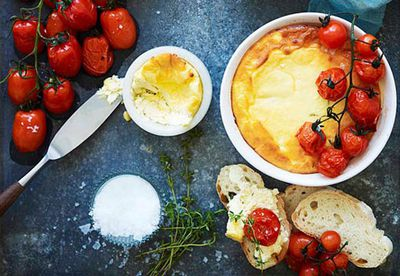 Baked ricotta with cherry tomatoes
