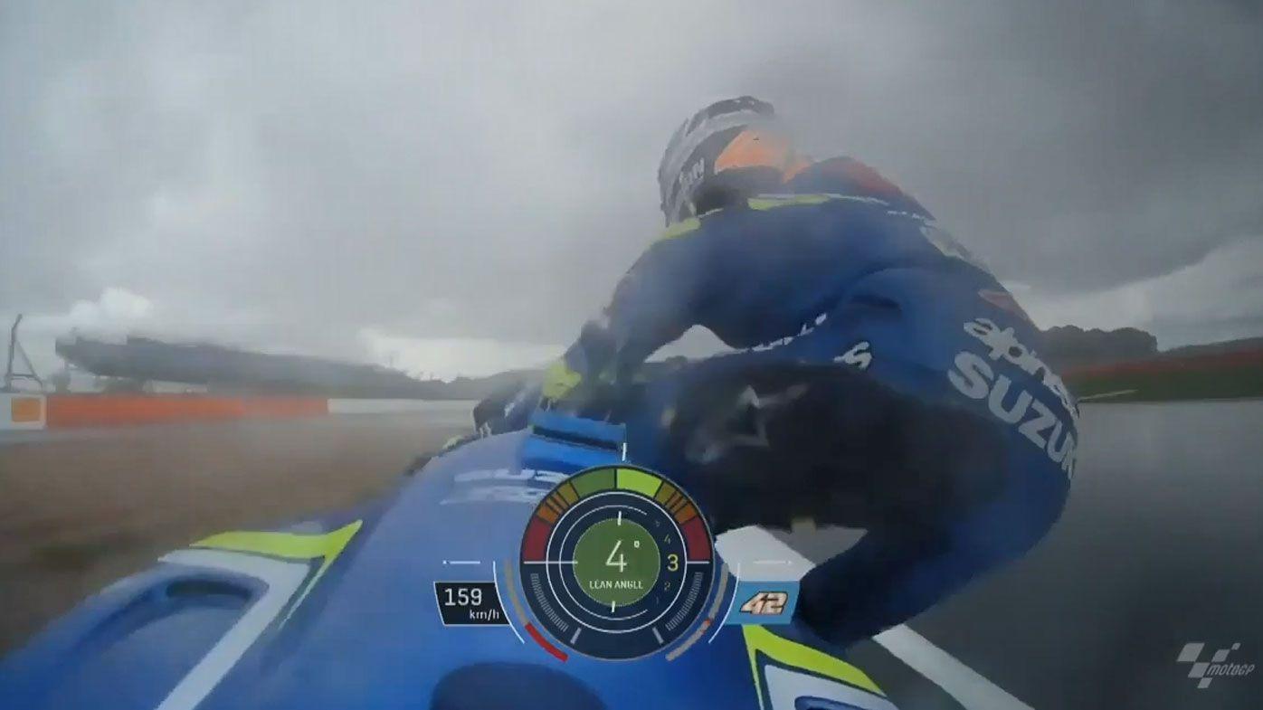 Suzuki rider Alex Rins jumps off bike at 160km/h before British MotoGP abandoned due to wet conditions