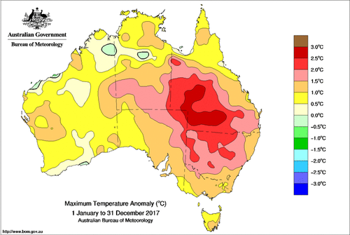 Parts of Queensland also saw unusually high temperatures throughout the year, with jumps of up to three degrees in rural areas (BoM).