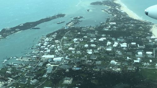 This aerial photo provided by Medic Corps, show the destruction brought by Hurricane Dorian on Man-o-War cay, Bahamas.