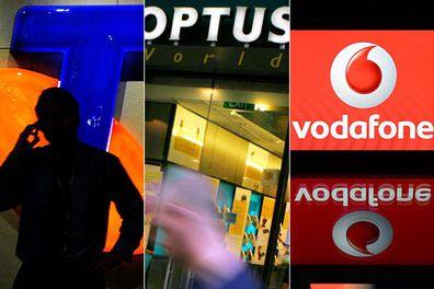 Telstra, Optus and Vodafone logos