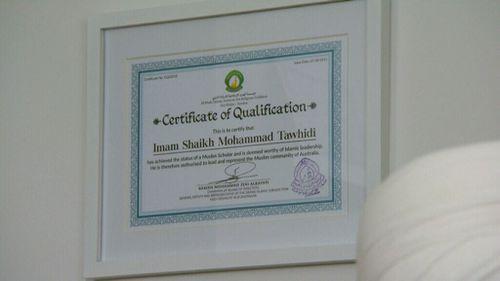 Imam Tawhidi refers often to his academic credentials.