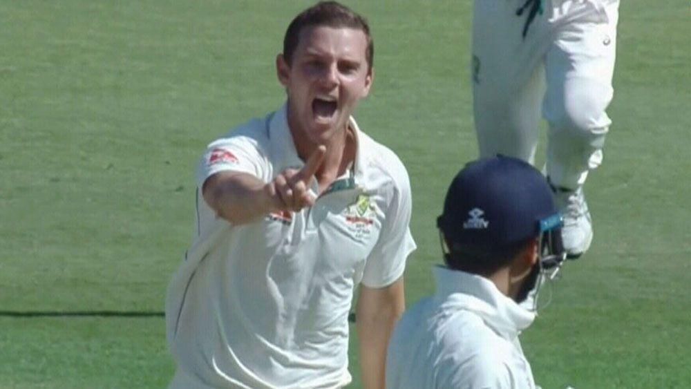 Australian bowler Josh Hazlewood gives Murali Vijay fiery send-off in fourth Test