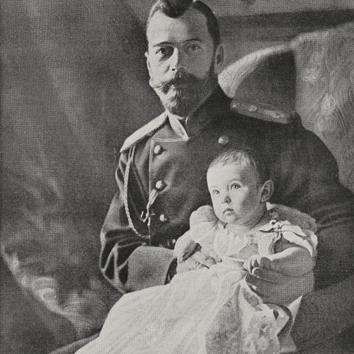 Nicholas II Romanov Emperor of Russia, with his son, heir to the throne Alexei Nikolaevic Romanov