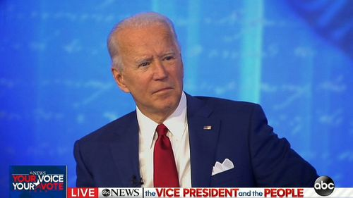 Presidential candidate Joe Biden at his TV Town Hall event.