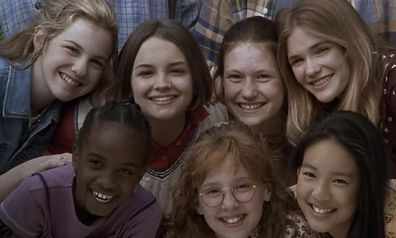 Rachael Leigh Cook, Schuyler Fisk, Bre Blair, Zelda Harris, Tricia Joe, Larisa Oleynik, and Stacy Linn Ramsower in The Baby-Sitters Club (1995).