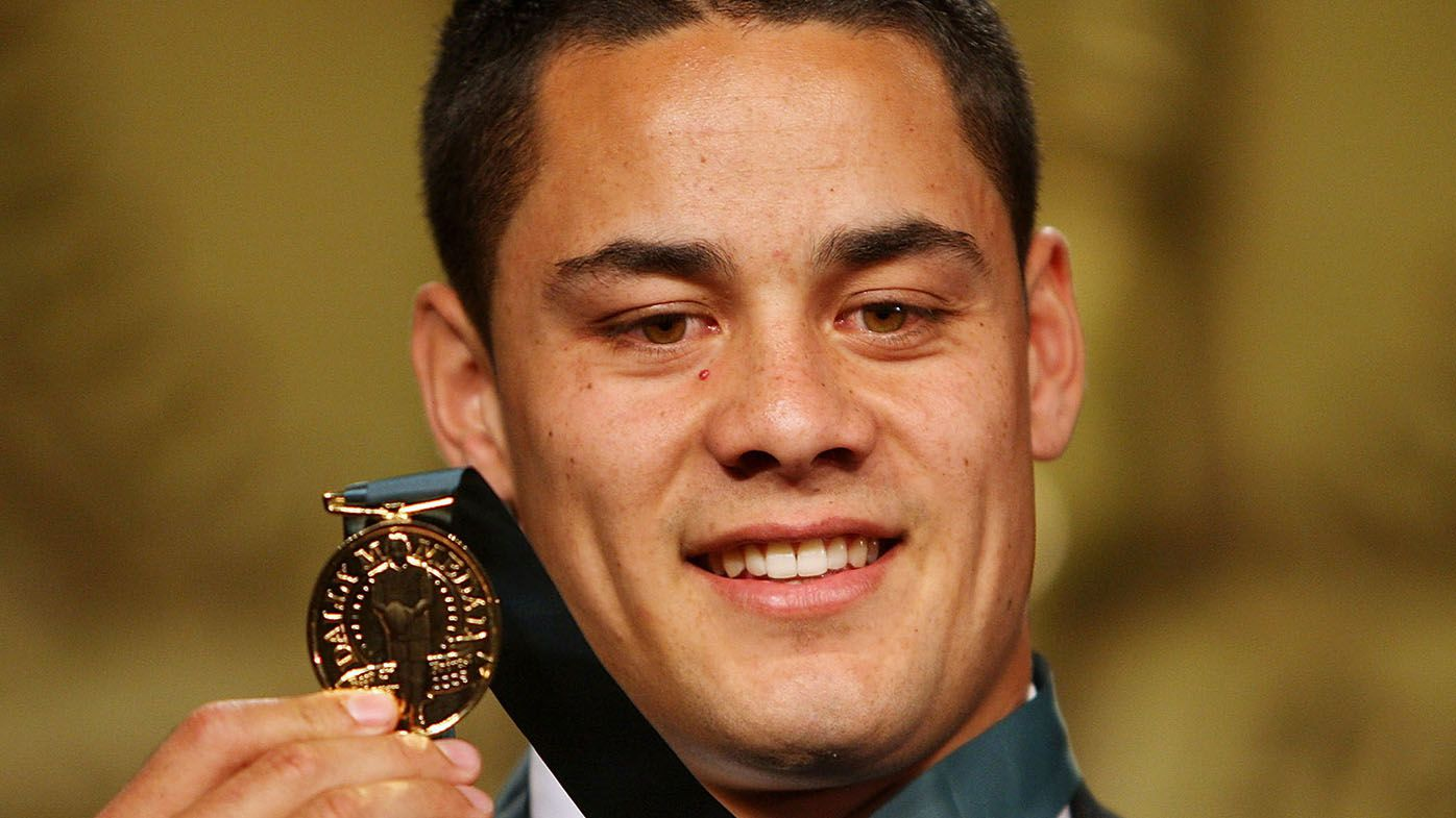 Jarryd Hayne poses with the Dally M Award at the 2009 Dally M Awards held at the State Theatre on September 8, 2009 in Sydney, Australia.