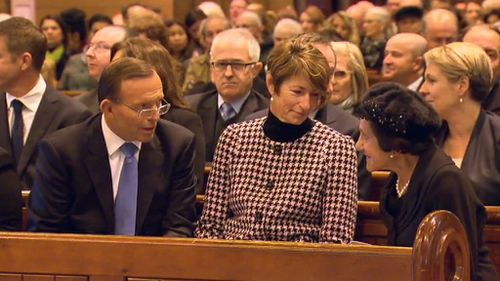 Prime Minister Tony Abbott with his wife Margaret and NSW Governor General Marie Bashir at the MH17 memorial service in Sydney, July 20 2014. (9NEWS)