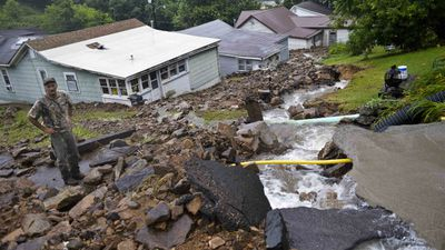 A rockslide caused extensive damage in Richwood. (AAP)
