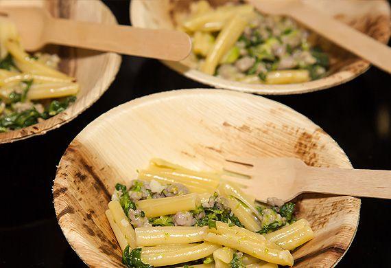 Casarecce with spinach, Italian pork sausage, garlic, cheese and chilli