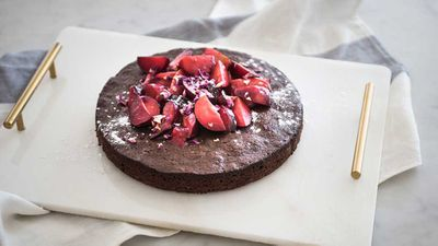 """Recipe: <a href=""""http://kitchen.nine.com.au/2017/06/16/07/53/chocolate-cake-with-stewed-blood-plums"""" target=""""_top"""">Chocolate cake with stewed blood plums</a>"""