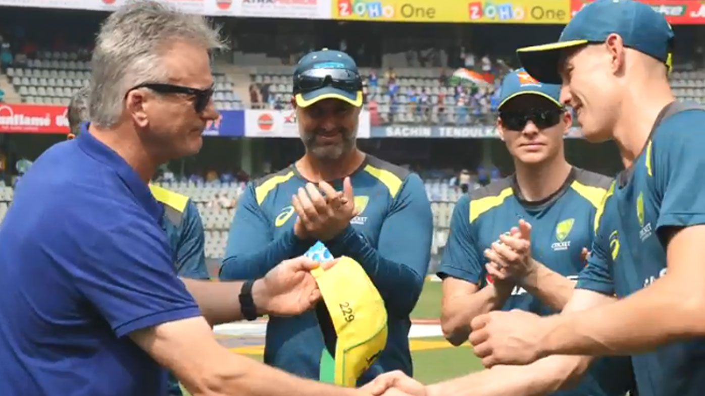 Steve Waugh present Marnus Labuschagne with his ODI cap