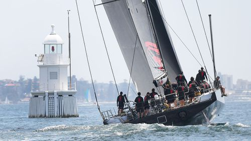 LDV Comanche during a practice sail ahead of the Sydney to Hobart yacht race in Sydney. (Image: AAP)