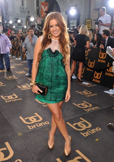 """Isla Fisher arrives on the red carpet of the Los Angeles premiere of """"Bruno"""" in 2009."""