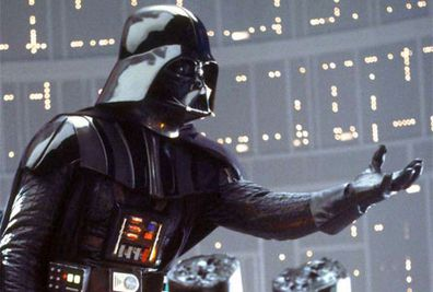 The character Darth Vader in 'The Empire Strikes Back'.