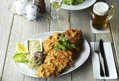 """<a href=""""http://kitchen.nine.com.au/2016/05/05/10/55/lwenbru-kellers-chicken-schnitzel"""" target=""""_top"""">Munich Brauhaus' chicken schnitzel<br /> </a>"""