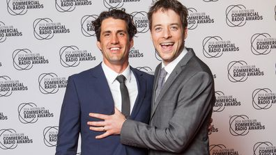 Comedians Andy Lee and Hamish Blake at the Commercial Radio Awards in Melbourne. (AAP)