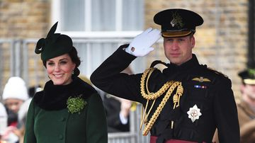 The Duke and Duchess of Cambridge attend the regiment's St Patrick's Day parade at Cavalry Barracks in Hounslow. (PA/AAP)