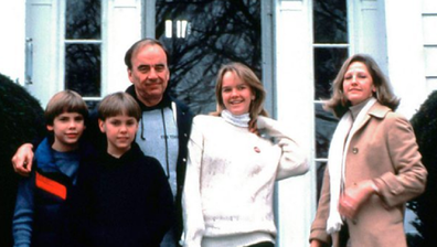 Rupert Murdoch with his children (from left) Lachlan, James and Elisabeth, with second wife Anna.