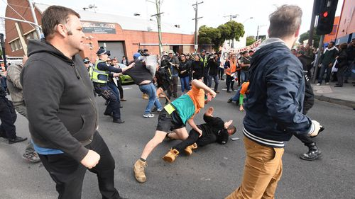 Far-right protesters converged on the location where Milo was speaking. (AAP)