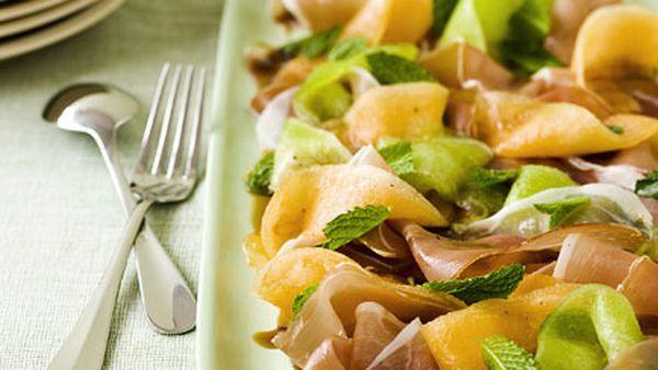 Rockmelon, mint and prosciutto salad with Pedro Ximénez syrup