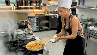 Sophie Monk learns how to 'cook'