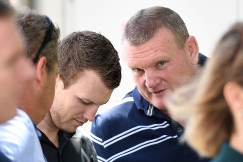 Promoter Dean Lonergan has a word in Jeff Horn's ear. Picture: AAP