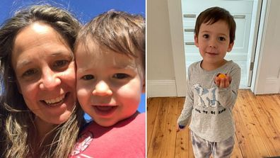 Heidi Krause and her three-year-old son. Split image.