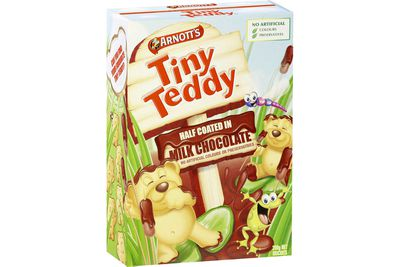 Tiny Teddy milk chocolate biscuits: 11 calories/45kj per biscuit