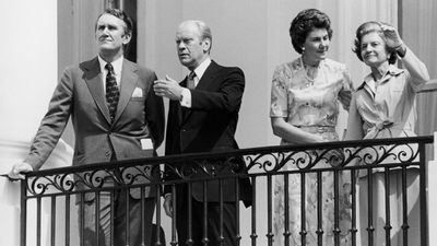 After several attempts, Fraser unseated Billy Snedden and took the leadership of the Liberal party. Fraser, and his wife Tamie, with President Gerald Ford and Betty Ford on the South Portico of the White House during their visit to Washington, 27th July 1976. (Getty Images)
