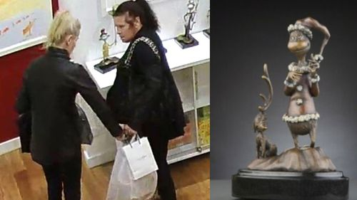 The thieves then left the store with the statue worth approximately $10,000.