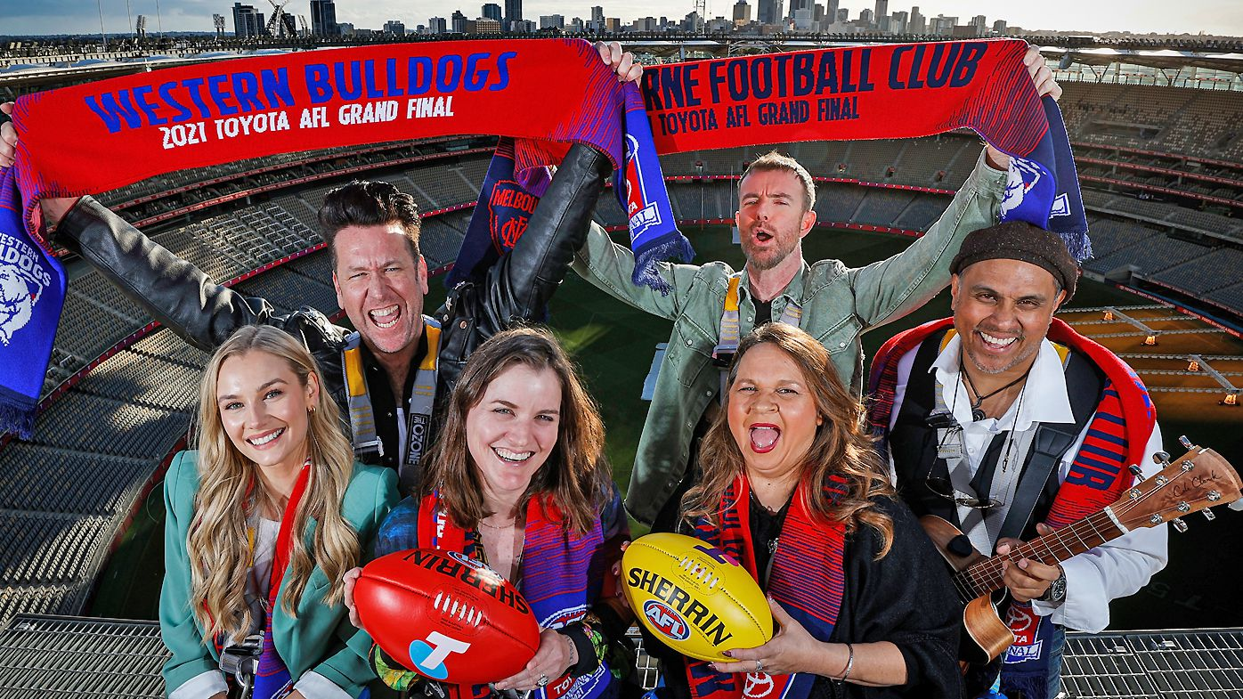 Amy Manford, Kav Temperly, Abbe May, Ian Kenny, Gina Williams and Guy Ghouse pose for a photograph during the AFL Grand Final entertainment announcement