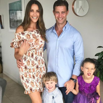 Rachael Finch with husband Michael Miziner and their children Dominic and Violet.