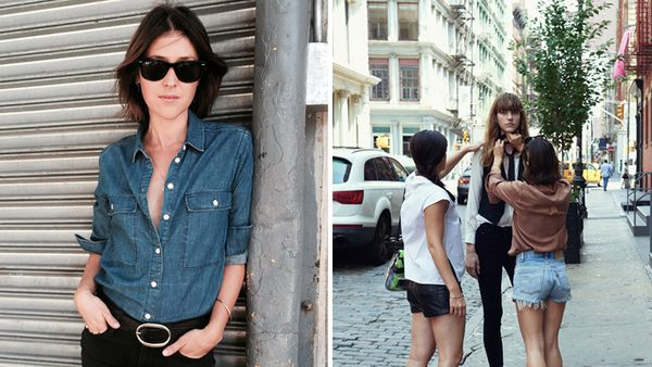 Ilona Hamer (left); On set for Nobody in NYC.