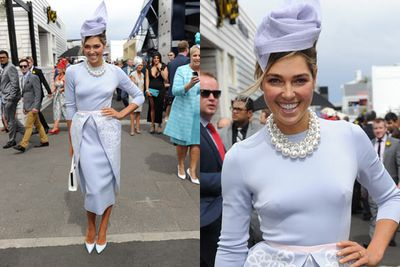Model Ashley Hart went for mumsy look.<br/><br/>Image: AAP