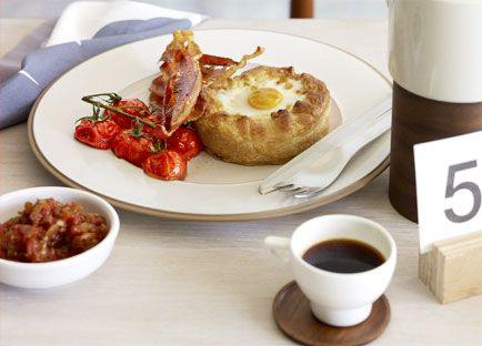 Breakfast pies with tomato chilli jam and crisp speck