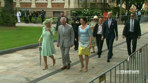 Ms Palaszczuk in her Daniel Moore gown today. (9NEWS)