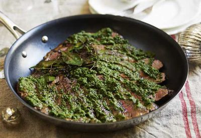 """Recipe: <a href=""""/recipes/ibeef/9062686/guillaume-brahimis-seared-flank-of-rangers-valley-with-salsa-verde"""" target=""""_top"""">Seared flank with salsa verde</a>"""