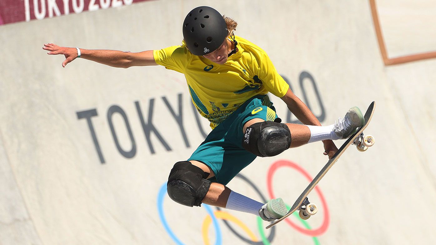 Keegan Palmer of Team Australia competes in the Men's Skateboarding Park Finals on day thirteen of the Tokyo 2020 Olympic Games at Ariake Urban Sports Park on August 05, 2021 in Tokyo, Japan. (Photo by Ezra Shaw/Getty Images)
