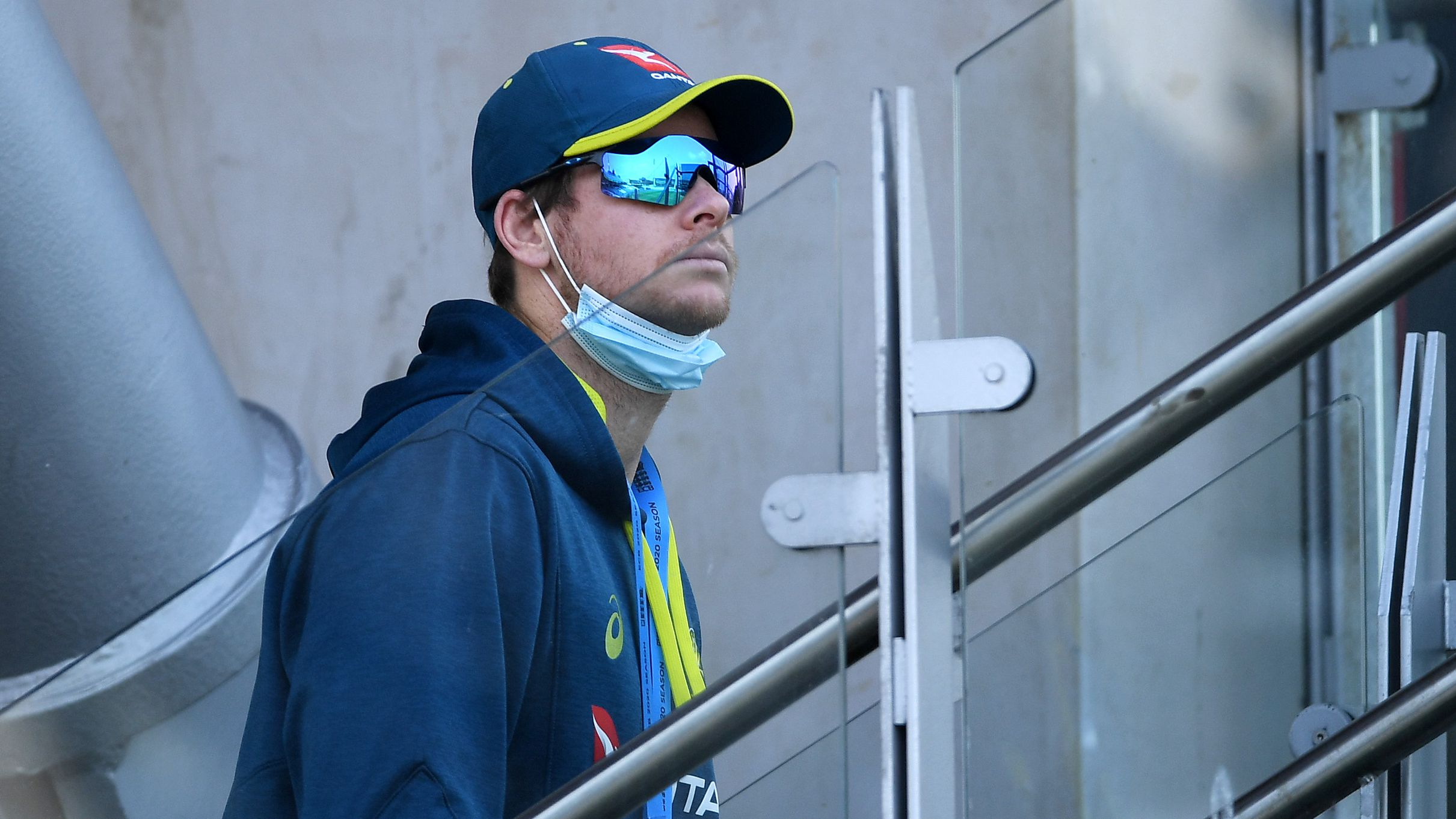 Steve Smith of Australia looks on at Old Trafford.